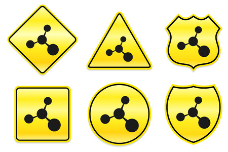 caution chemistry: Molecule Icon on Yellow Designs Original Illustration