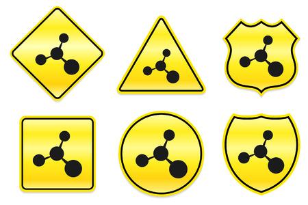 Molecule pictogram op gele ontwerpen Originele illustratie