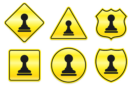Chess Pawn Icon on Yellow Designs Original Illustration Vector