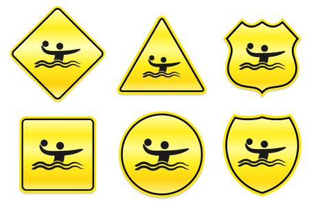 waterpolo: Icono de waterpolo en dise?os de amarillos Ilustraci?n original  Vectores