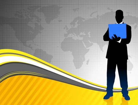 Businessman on World Map Background Original Illustration Vector