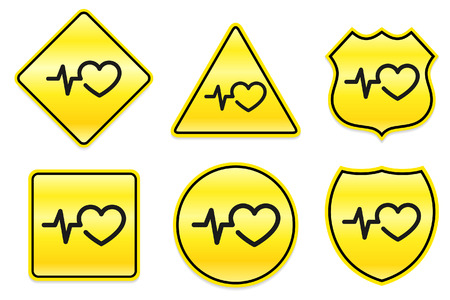 Heart Rate Icon on Yellow Designs Original Illustration Vector