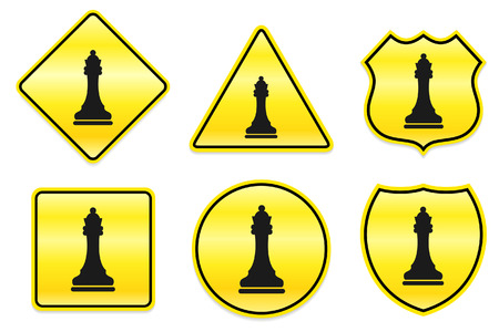 Chess Queen Icon on Yellow Designs Original Illustration Vector