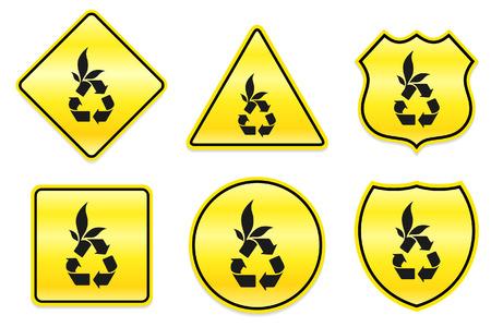 Recycleer Symboolpictogram op Gele Ontwerpen Originele Illustratie