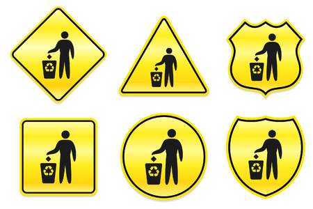 Recycle Trash Icon on Yellow Designs