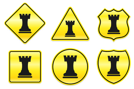 Chess Rook Icon on Yellow Designs Original Illustration Vector
