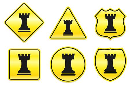 Chess toren pictogram op de gele Designs Originele illustratie