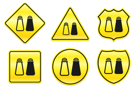 Salt and Pepper Icon on Yellow Designs