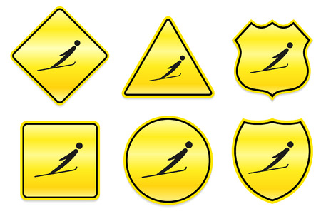 Ski Jump Icon on Yellow DesignsOriginal Illustration 向量圖像
