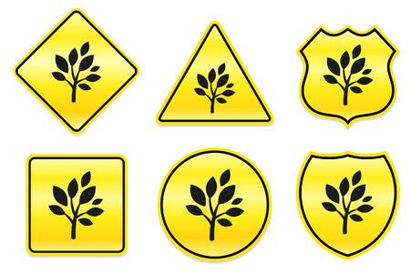 Boom pictogram op gele ontwerpen originele illustratie Stock Illustratie