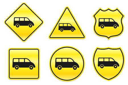 Van pictogram op gele ontwerpen Originele illustratie Stock Illustratie