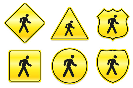 Walking Icon on Yellow Designs Original Illustration Ilustração