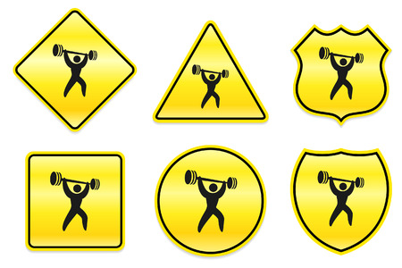 Weightlifter Icon on Yellow DesignsOriginal Illustration