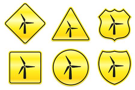 Wind molen pictogram op gele ontwerpen Oorspronkelijke afbeelding
