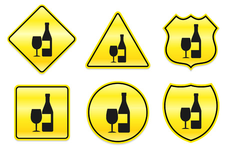 Champagne Icon on Yellow Designs Original Illustration Vector