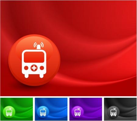 Ambulance Icon on Multi Colored Abstract Wave Background Original Illustration