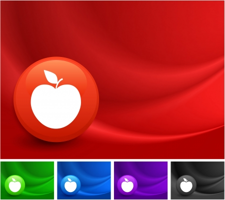 Apple Icon on Multi Colored Abstract Wave Background Original Illustration Vector