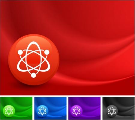 Atom icône sur Multicolore Résumé vague de fond Illustration originale Banque d'images - 22317612