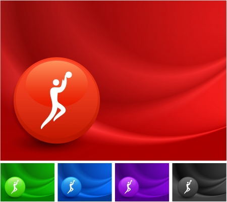 Basketball Icon on Multi Colored Abstract Wave Background Original Illustration Vector