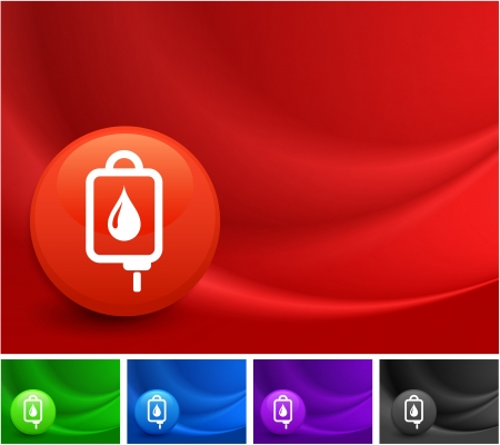 iv drip: Blood IV Drip Icon on Multi Colored Abstract Wave Background Original Illustration Illustration