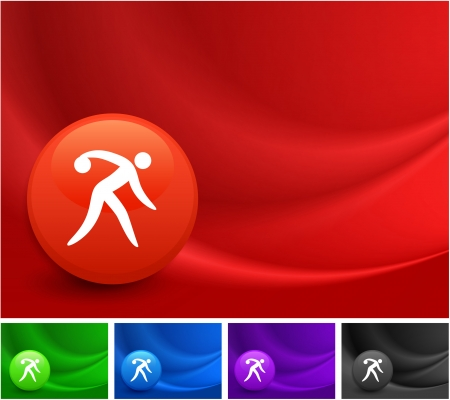 Bowling Icon on Multi Colored Abstract Wave Background