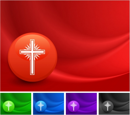 Cross Icon on Multi Colored Abstract Wave Background