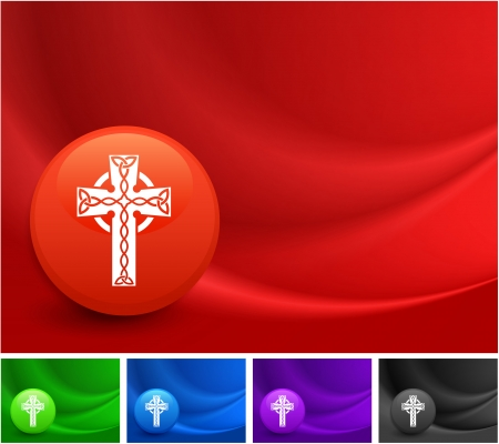 protestant: Cross Icon on Multi Colored Abstract Wave Background Original Illustration