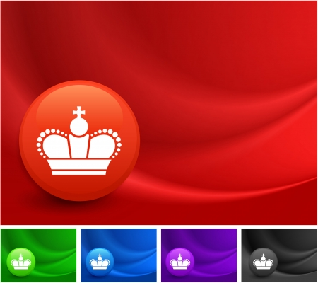 Crown Icon on Multi Colored Abstract Wave Background