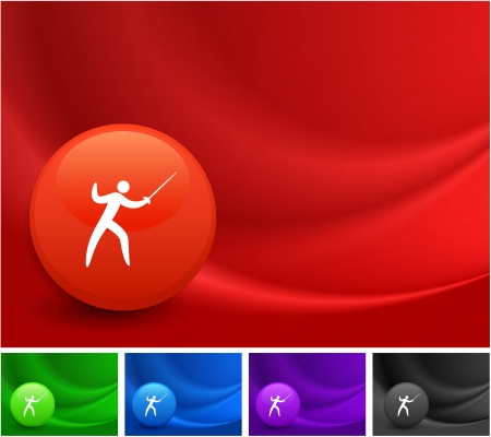 Fencing Icon on Multi Colored Abstract Wave Background Original Illustration
