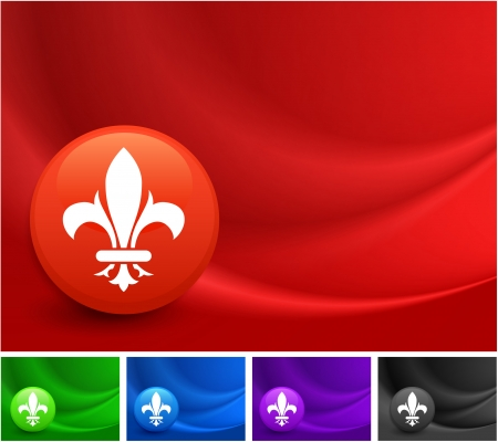 Fleur De Lis Icon on Multi Colored Abstract Wave Background Original Illustration Vector