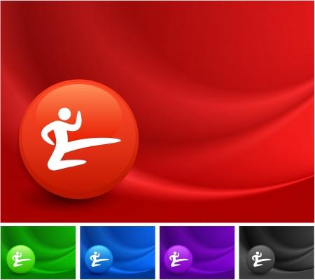 seta thailandese: Karate icona sul Multicolore Astratto Wave Background Illustrazione originale