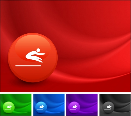 long jump: Long Jump Icon on Multi Colored Abstract Wave Background Original Illustration