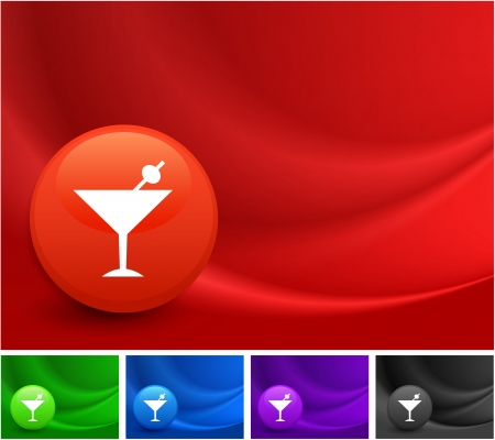 Martini Icon on Multi Colored Abstract Wave Background Original Illustration Ilustrace