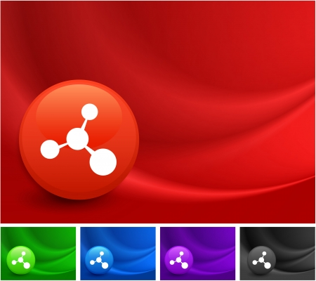 Molecule Icon on Multi Colored Abstract Wave Background Original Illustration Vector