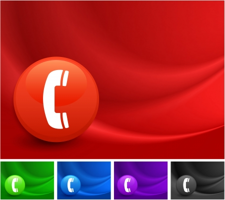 Telephone Icon on Multi Colored Abstract Wave BackgroundOriginal Illustration Stock Vector - 22317728