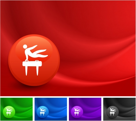 pommel: Pommel Horse Icon on Multi Colored Abstract Wave Background Original Illustration