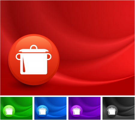 Pot Icon on Multi Colored Abstract Wave Background