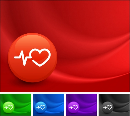 heart rate: Pulse Heart Rate Icon on Multi Colored Abstract Wave Background Original Illustration