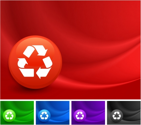 Recycle Icon on Multi Colored Abstract Wave Background