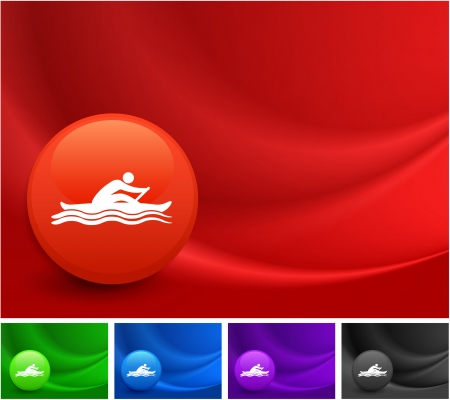 Rowing Icon on Multi Colored Abstract Wave Background Original Illustration Vector