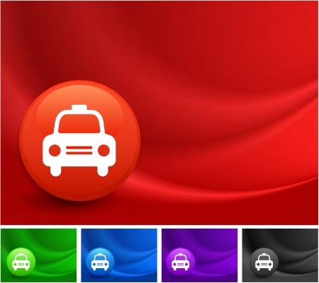 Taxi Cab icône sur Multicolore Résumé vague de fond Illustration originale Banque d'images - 22317776