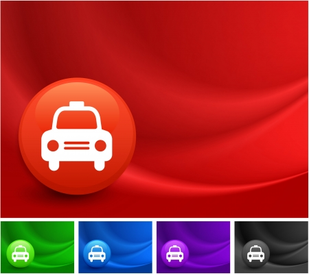 Taxi Cab Icon on Multi Colored Abstract Wave Background