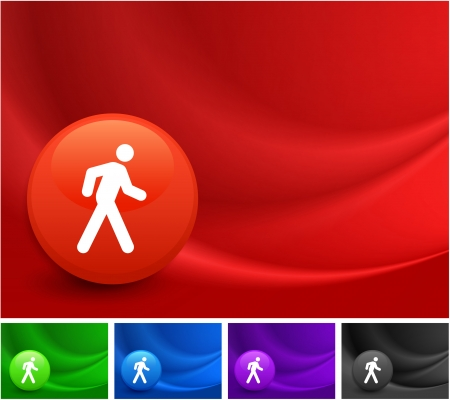 Walking Button Icon on Multi Colored Abstract Wave Background Original Illustration