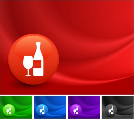 Champagne Icon on Multi Colored Abstract Wave Background