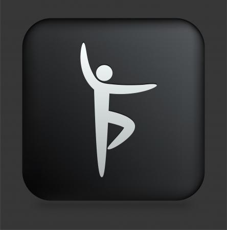 poise: Icono de yoga en el bot?n de Internet Plaza negro Ilustraci?n original  Vectores