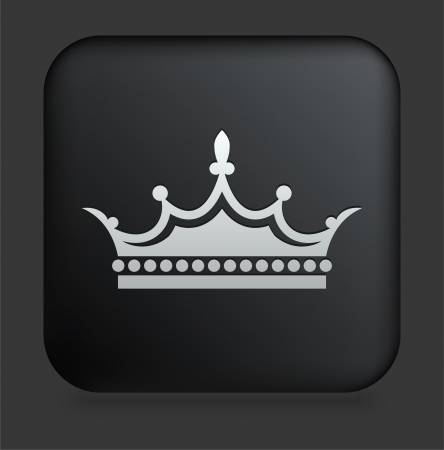 king and queen: Crown Icon on Square Black Internet Button Original Illustration