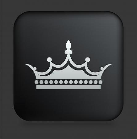 Ic?ne de la Couronne sur bouton carr? noir InternetIllustration originale Banque d'images - 22351982