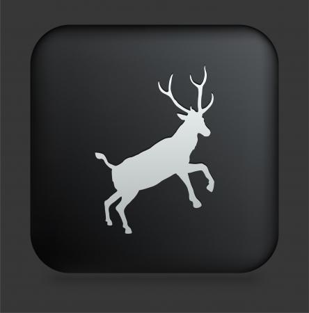 검은 색 사각형 인터넷 버튼 원래 그림에 사슴 아이콘 일러스트