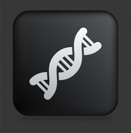 DNA Icon on Square Black Internet Button Original Illustration Çizim
