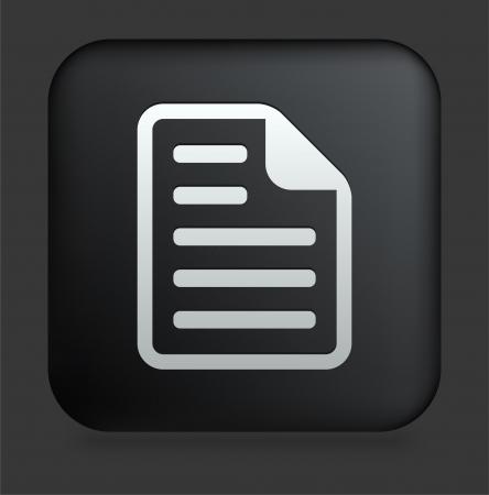 Document Icon on Square Black Internet Button Original Illustration Çizim